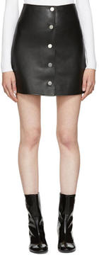 Courreges Black Leather Button Miniskirt