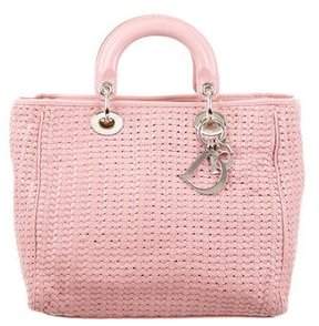 Christian Dior Braided Leather Handle Bag