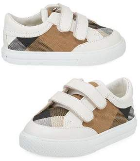 Burberry Heacham Check Canvas Sneaker, White/Tan, Newborn