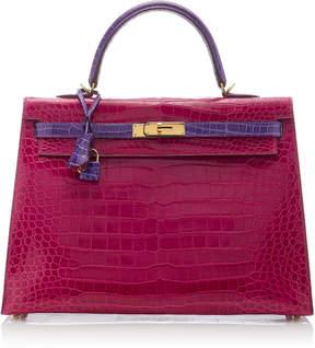 Hermes Vintage by Heritage Auctions 35cm Rose Scheherazade And Violet Shiny Porosus Crocodile Kelly Bag