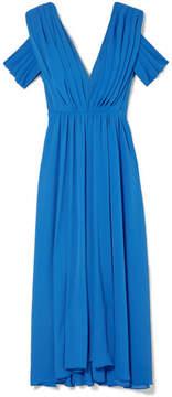 Emilia Wickstead Anderson Draped Matelassé Midi Dress - Blue