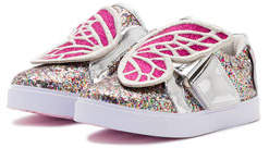 Sophia Webster Bibi Butterfly Low-Top Glittered Sneaker, Size 5T-3Y