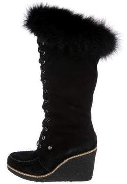 Australia Luxe Collective Fur-Trimmed Knee-High Boots