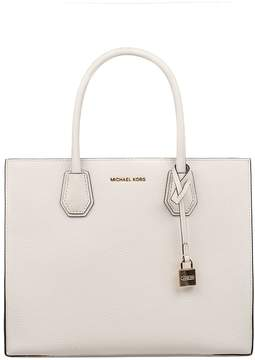 Michael Kors White Mercer Hammered Leather Top Handle Bag - WHITE - STYLE