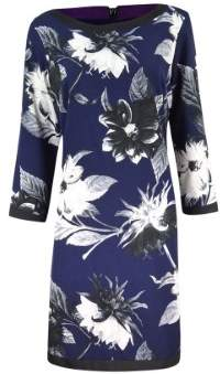 Vince Camuto Women's Printed Long Sleeve Crepe Dress (10, Black/Navy)