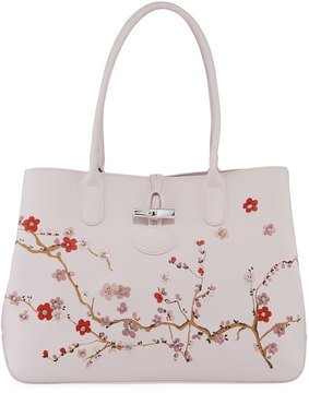 Longchamp Roseau Floral Leather Tote Bag, Pink - PINK - STYLE