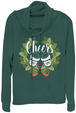 Fifth Sun Botanical Green 'Cheers' Wreath Cowl Neck Pullover