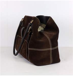 Loro Piana Brown Suede Globe Purse