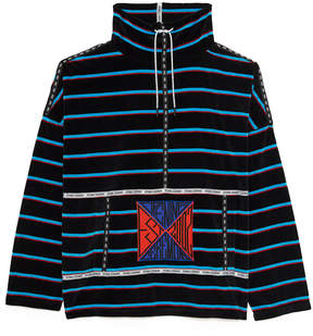 Opening Ceremony Striped Velour Funnel Pullover