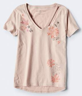 Aeropostale Slash V-Neck Graphic Tee