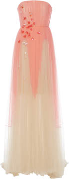 DELPOZO Strapless Silk-Tulle Degrade Gown