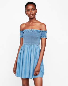 Express Off The Shoulder Smocked Bodice Dress