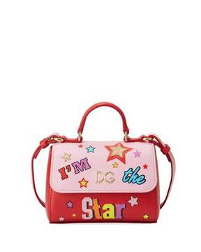 Dolce & Gabbana Girls' I'm The Star Leather Top-Handle Shoulder Bag - PINK/RED - STYLE