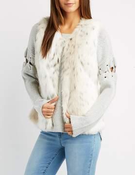 Charlotte Russe Leopard Print Faux Fur Vest