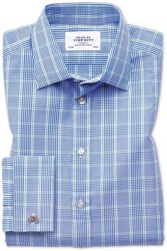 Charles Tyrwhitt Classic Fit Prince Of Wales Blue and Green Cotton Dress Shirt French Cuff Size 15/33