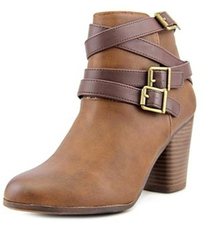 Material Girl Minah Women Round Toe Synthetic Brown Ankle Boot.