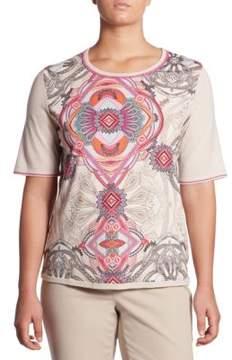 Basler Basler, Plus Size Plus Regular-Fit Paisley Print Wool Tee