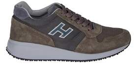 Hogan Men's Grey/green Suede Sneakers.