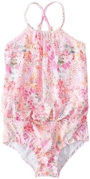 Seafolly Girls' Prairie Girl Blouson Tank One Piece Swimsuit (2T7) - 8148028