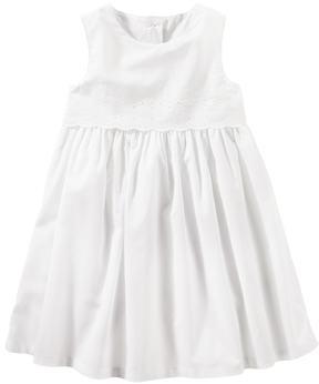 Osh Kosh Toddler Girl White Eyelet Border Dress