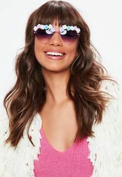 Missguided Purple Flower Detail Heart Sunglasses