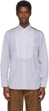 Junya Watanabe White and Navy Striped Shirt