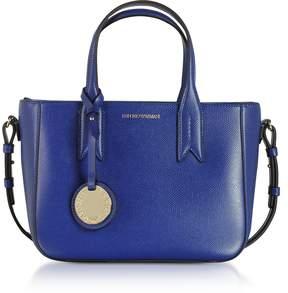 Emporio Armani Electric Blue Embossed Eco Leather Mini Tote Bag