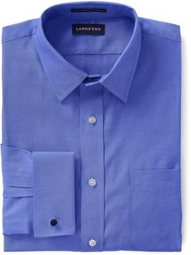 Lands' End Lands'end Men's Big Long Sleeve Straight Collar Supima Pinpoint with French Cuff Dress Shirt