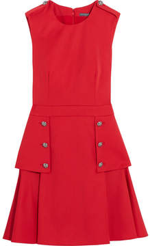 Alexander McQueen Pleated Grain De Poudre Wool Mini Dress - Red