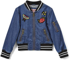 Urban Republic Dark-Wash Embroidered Chambray Bomber Jacket - Girls