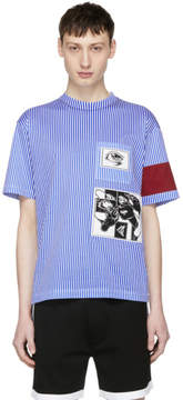 Prada Blue and White Stripe JWP Riga Patch T-Shirt