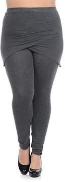 Bellino Charcoal Surplice Skirt Layered Leggings - Plus