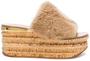 Chloé Sheep Fur Camille Wedge Sandals