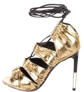 Tom Ford Metallic Lace-Up Sandals