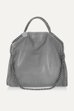 Stella McCartney - The Falabella Medium Faux Brushed-leather Shoulder Bag - Light gray