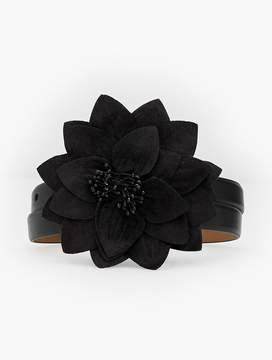 Talbots Velvet Flower-Buckle Leather Belt
