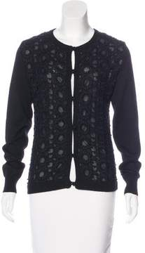 Andrew Gn Linen-Blend Lace-Paneled Cardigan