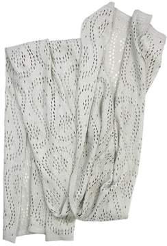 St. John Grey Metallic Knit Scarf