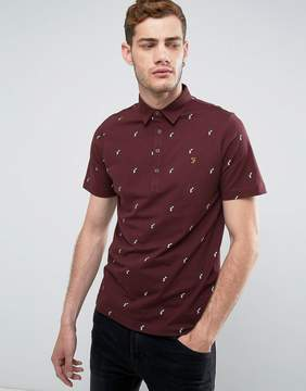 Farah Foliot Slim Fit Polo With Ditsy Print In Burgundy