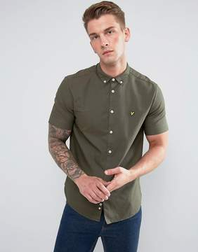 Lyle & Scott Garment Dye Oxford Short Sleeve Shirt Green