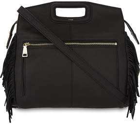 Maje Mwalk fringed grained leather shoulder bag