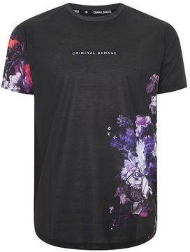 Criminal Damage Black 'Lyon' Floral T-Shirt