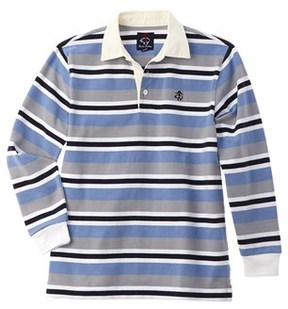 Brooks Brothers Boys' Grey & Blue Striped Rugby Shirt.