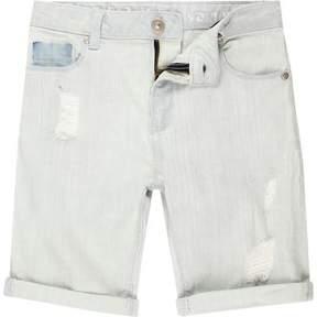 River Island Boys light blue distressed denim shorts