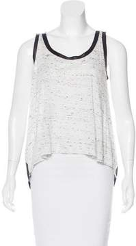 Enza Costa Sleeveless Leather-Trimmed Top