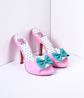 Unique Vintage Blush Pink & Teal Bow Faux Leather Siren Peep Toe Heels Shoes