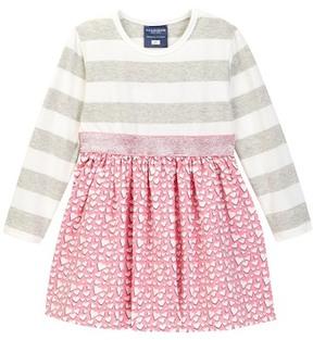 Toobydoo Sweetheart Stripe Top Sparkle Belt Dress (Baby & Toddler Girls)