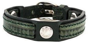 Tod's Dark Green Embossed Leather Wrap Bracelet