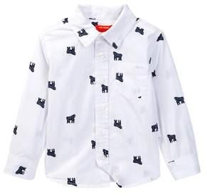 Joe Fresh Allover Print Button Front Shirt (Toddler & Little Boys)