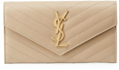 Saint Laurent Monogram Leather Medium Flap Continental Wallet - RED - STYLE